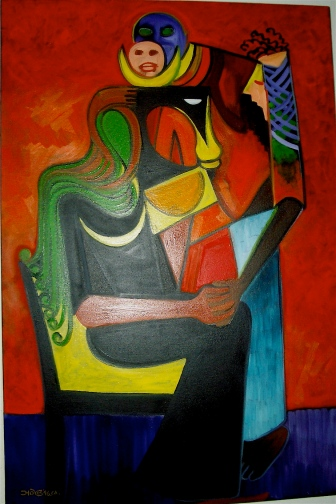 """From the Personage Series, By Bernard Stanley Hoyes, Oils on Canvas, 24x36"""" 1996."""