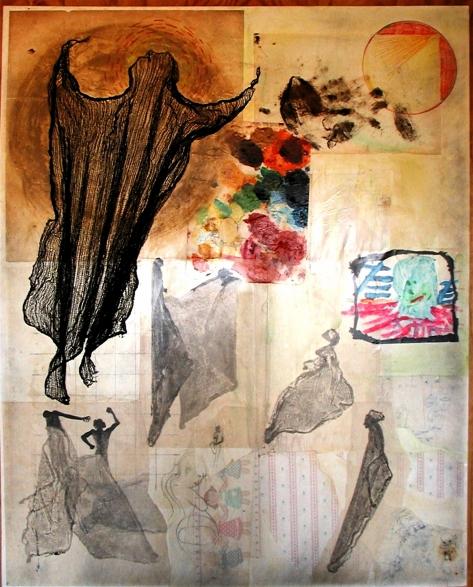"Bernard Hoyes; ""Ascension Rags"" 48x60"" Mixed Media"