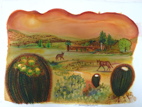 """""""On the Syncona Mesa, Coyotes are resident Guardens."""" 23x33"""" by Bernard Stanley Hoyes"""