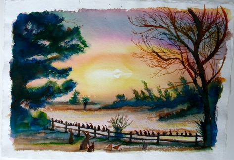 """""""Peaceful evening on Syncona Mesa"""" 12x16"""" watercolor by Bernard Stanley Hoyes"""